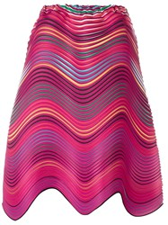 Issey Miyake Wave Pleat Striped Skirt Pink And Purple