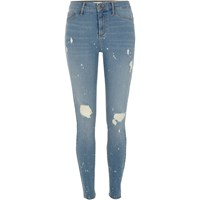 River Island Womens Blue Molly Ripped Paint Splatter Skinny Jeans
