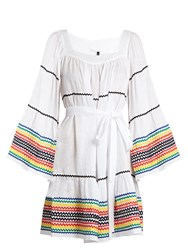 Lisa Marie Fernandez Ric Rac Trimmed Linen Dress White Multi