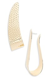 Natasha Hammered Elongated Hoop Earrings Gold