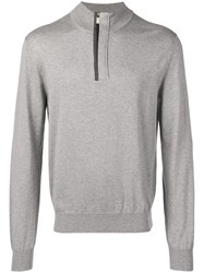 Canali Half Zip Knitted Sweater Grey