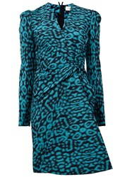 Lanvin Leopard Print Dress Blue