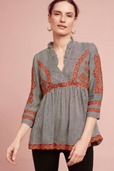 Anthropologie Francine Embroidered Top Red Motif