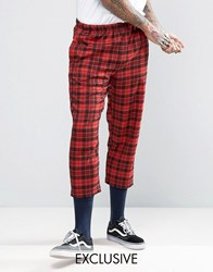 Reclaimed Vintage Inspired Relaxed Trousers In Check Red