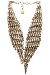 Bcbgmaxazria Stone Metal Necklace Metallic Gold