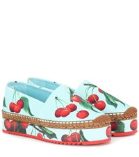 Dolce And Gabbana Exclusive To Mytheresa Cherry Printed Espadrilles Blue