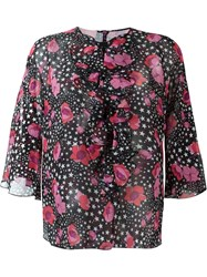 Giamba Flower And Star Print Blouse Black