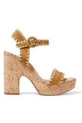 Tabitha Simmons Elena Whipstitched Suede Platform Sandals Tan