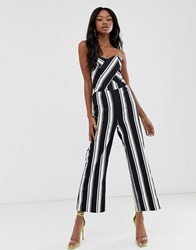 Morgan Bandeau Culotte Jumpsuit In Stripe Multi