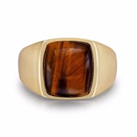 Lmj Chatoyant Red Tiger Eye Quartz Stone Ring