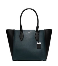 Michael Kors Gracie Large Color Block Leather Tote Peacock