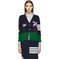 Thom Browne Navy 4 Bar Gnome Scenery Cardigan