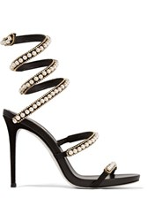 Rene Caovilla Embellished Suede And Leather Sandals Black