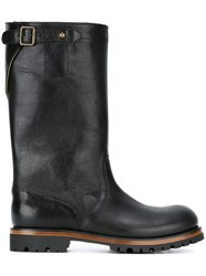 Ann Demeulemeester Icon Buckled Round Toe Boots Black