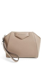 Givenchy 'Antigona' Leather Zip Pouch Beige Mastic
