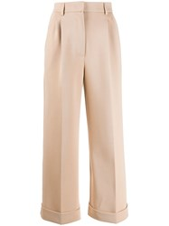Fendi Wide Leg Tailored Trousers Brown
