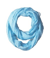 Betsey Johnson Lace Border Infinity Loop Sky Scarves Blue