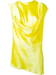 Ann Demeulemeester Draped Sleeveless Blouse Yellow And Orange