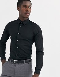 French Connection Plain Stretch Skinny Fit Shirt Black