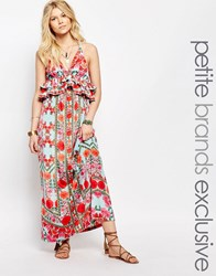 White Cove Petite Frill Layered Maxi Dress In Geo Tribal Floral Multi