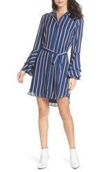 Charles Henry Tiered Bell Sleeve Shirtdress Navy Pink Ivory Stripe