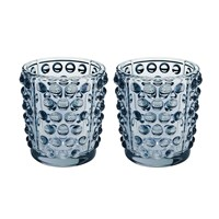 Lalique Mossi Votives Set Of 2 Blue Lustre
