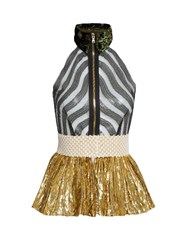 Sophie Theallet Mari Sleeveless Fil Coupe Silk Blend Tulle Top Gold Multi