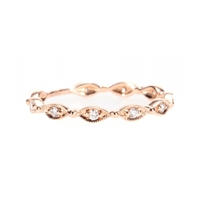 Stone 18Kt Rose Gold Yasmine Phalanx Ring With White Diamonds
