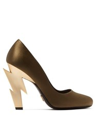 Prada Lightning Bolt Heel Satin Pumps Khaki
