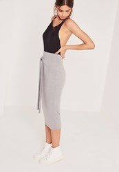 Missguided Tie Front Midi Skirt Grey Grey