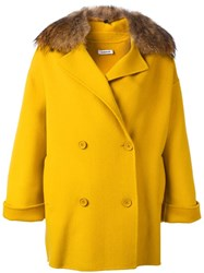 P.A.R.O.S.H. Button Up Shearling Coat Yellow Orange