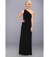 Laundry By Shelli Segal One Shoulder Sleeveless Gown W Side Sequins Black Women's Dress