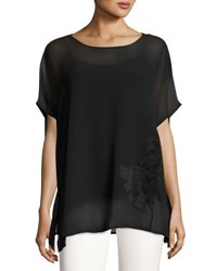 Catherine Malandrino Boxy Blouse With Velvet Flower Front Black