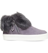 Carvela Lille Foldover Cuff Suede Trainers Grey