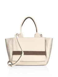 Brunello Cucinelli Textured Calf Leather And Suede Blend Tote Oat