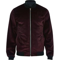 River Island Mens Red Velvet Bomber Jacket