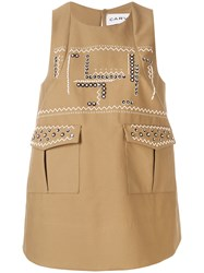 Carven Printed Sleeveless Swing Top Nude And Neutrals