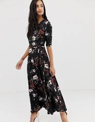 Liquorish Floral Wrap Front Maxi Dress With Tie Waist Belt And Leg Split Multi