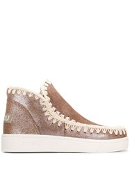 Mou Stitch Detail Ankle Boots Brown