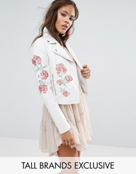 Glamorous Tall Stud And Embroidered Biker Jacket White Multi