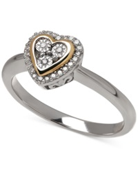Macy's Diamond 1 10 Ct. T.W. Heart Ring In 14K Gold Over Sterling Silver