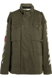 Off White Embroidered Cotton Twill Jacket Army Green