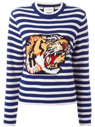 Gucci Striped Tiger Sweater Blue