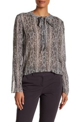 Theory Kimry Snake Print Tie Front Blouse Beige