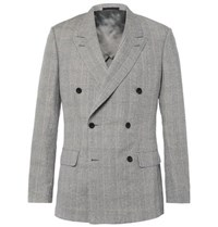 Kingsman Harry's Grey Double Breasted Prince Of Wales Checked Linen Wool And Silk Blend Suit Jacket Light Gray