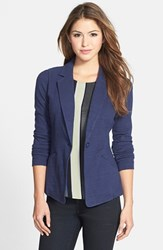 Caslonr Women's Caslon Knit One Button Blazer Navy Peacoat