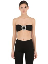 Vivetta Lycra Bandeau Top W Crystal Buckle Black