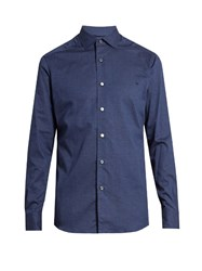 Ermenegildo Zegna Micro Diamond Print Cotton Shirt Navy