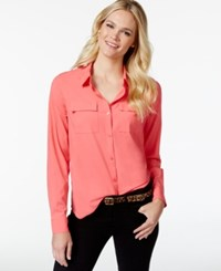 Charter Club Two Pocket Button Down Shirt Only At Macy's Tropical Pink