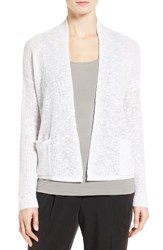 Eileen Fisher Women's Slubbed Organic Linen And Cotton Cardigan White